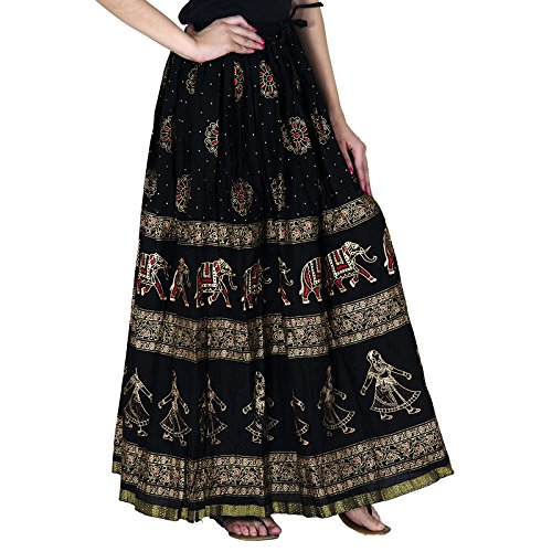 Home Shop Gift Black Cotton Gold Printed Long Skirt Length 40 Inches Waist Size :: Non Stretch 26 inches, After Stretch 42 inches.