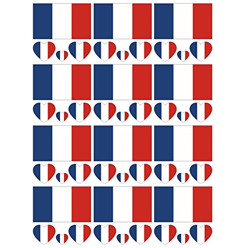 SpringPear 12x Temporary Tattoos of France Flag for World Cup International Competitions Waterproof Flags Tattoo Sticker Fan Set (12 Pcs)