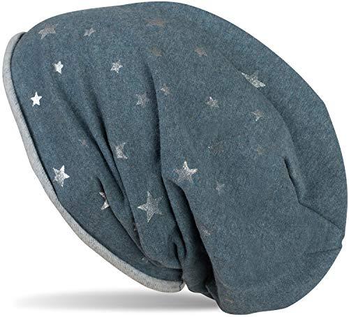 styleBREAKER Gorro Beanie con Estampado de Estrellas metálicas «All Over» con Borde Enrollable, Slouch, Beanie Largo, Gorro de Purpurina, señora 04024144, Color:Petróleo