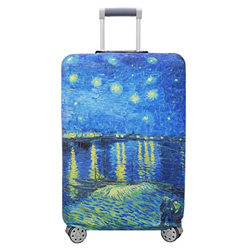 TRAVELKIN Thickened Luggage Cover ,Washable Travel Gear Cover,18/24/28/32 Inch Suitcase Spandex Protective Cover (L(25'-28'luggage), Starry Night Over the Rhone)