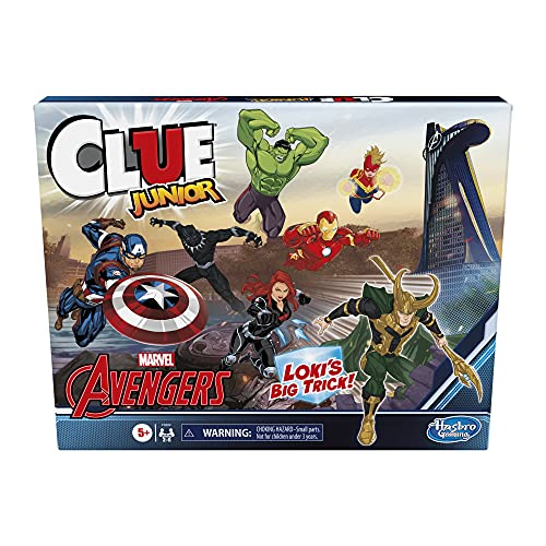 Clue Junior: Marvel Avengers Edition Board Game for Kids Ages 5+, Loki's Big Trick, Classic Mystery Game for 2-6 Players (Amazon Exclusive)
