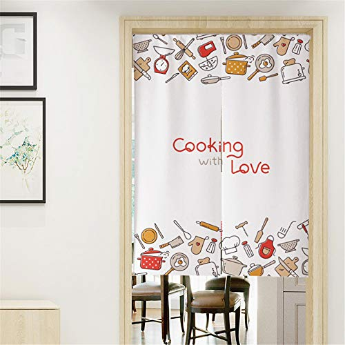 MYRU Japanese Noren Doorway Curtain Tapestry Entrance Feng Shui Door Curtain for Restaurant Kitchen (White Cooking,33.5 Inches x 59 Inches)