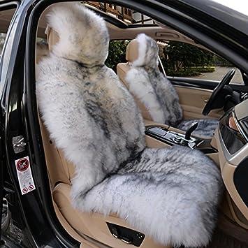 IMQOQ A Pair Genuine Sheepskin Car Seat Covers Luxury Fur Long Wool Car 2 Front Seat Covers Set Winter Warm Universal White Grey: image
