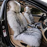 IMQOQ A Pair Genuine Sheepskin Car Seat Covers Luxury Fur Long Wool Car 2 Front Seat Covers Set Winter Warm Universal White Grey