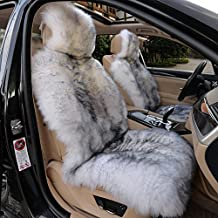 IMQOQ A Pair Genuine Sheepskin Car Seat Covers Luxury Fur Long Wool Car 2 Front Seat Covers Set Winter Warm Universal White Grey