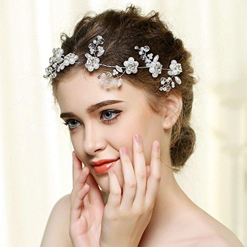 Utsunomiya® 1stück Mega Glamour Serre-tête avec Super belle doux Fleurs en Tulle, pointes Lace Fleurs avec perles en cristal transparent, Bijoux de mariée mariage cérémonie cheveux bijoux