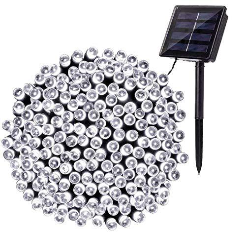 Luci Stringa Solari, BrizLabs 22M 200 LED Luci Natale Esterno Solare Impermeabile 8 Modalità Luci Natalizie da Esterni Decorativa per Albero di Natale, Giardino, Balcone, Patio (Bianco Freddo)