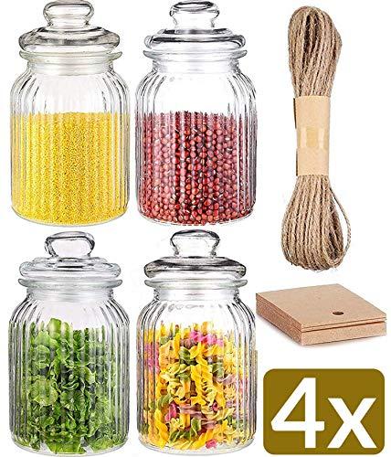 STAR - LINE 4 Vorratsdosen Set Glas 1,2L Groß - Luftdicht mit Dichtung - Vorratsglas Vorratsbehälter für Lebensmittel