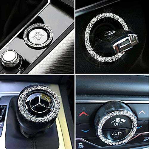 Personality Car Interior Emblem Crystal Ring Sticker,Automotive Parts Start Engine Ignition Button Key
