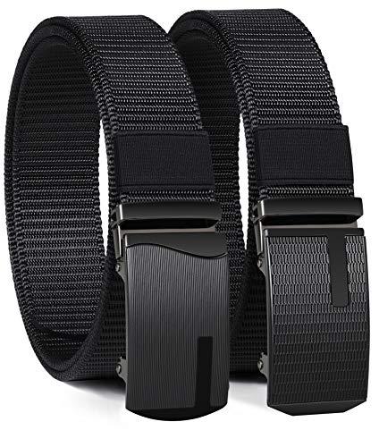 ITIEZY Men's Nylon Ratchet Belt 2Pack, Adjustable Web Military Tactical Belt with Automatic Slide Buckle, Trim to Fit