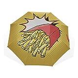 Ombrello da viaggio a mano disegnare patatine fritte patata anti uv compatto 3 pieghe arte...