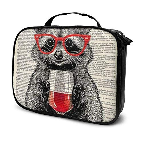 Los mapaches usan copas de vino tinto Maquillaje de viaje Organizador de estuches de cosméticos Bolsa de almacenamiento de artista portátil para cosméticos Pinceles de maquillaje Accesorios de tocad