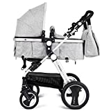 BABY JOY Baby Stroller, 2-in-1 Convertible Bassinet Reclining Stroller, Foldable Pram Carriage with 5-Point Harness, Including Cup Holder, Foot Cover, Diaper Bag, Aluminum Structure, Gray