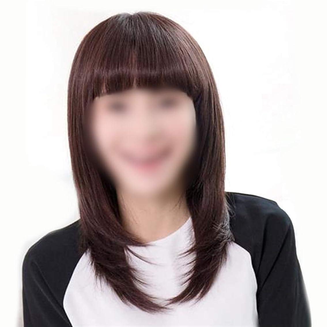 の中で話をする動作BOBIDYEE 女性の長いストレートの髪と前髪バックルマイクロウェーブウィッグパーティーデイリードレス複合ヘアレースウィッグロールプレイングウィッグロングとショートの女性自然 (色 : Dark brown)