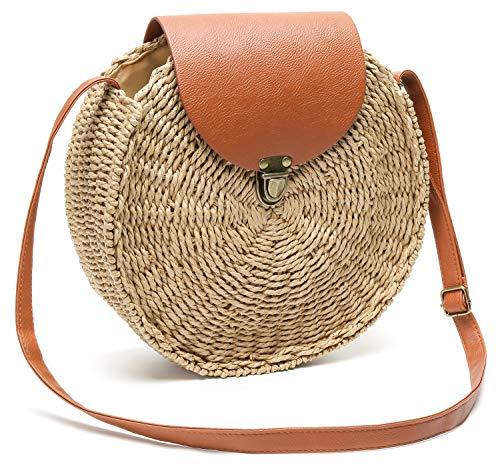 Obosoyo Straw Crossbody Bag Women Weave Shoulder Bag Round Summer Beach Sea Tote Handbags (Style2-Khaki)