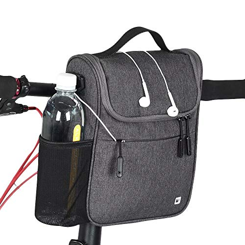 Rhinowalk Bike Handlebar Bag Multifunction Bicycle Front Tube Bag with Shoulder Strap Raincover, Grey
