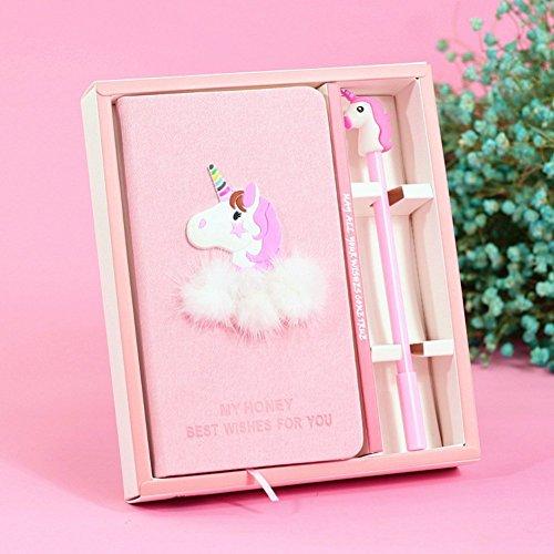 ABYED Einhorn Sachen-Notizbuch Plus Tintenroller; reizvolle Geschenkbox für Mädchen