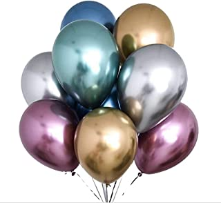 "Party Propz 50 Pcs 12"" Metallic Chrome Latex Balloon For Birthday Decoration, Happy Birthday Balloon, Chrome Balloon, Birt..."