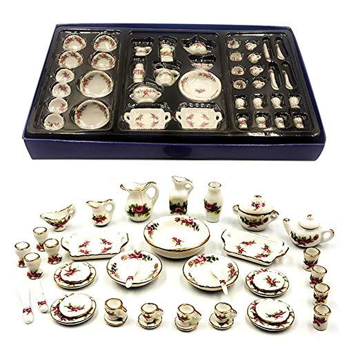 ZHOUBAA Modelos De Casa De Muñecas En Miniatura, Decoración DIY, Kit De Casa De Muñecas, Tetera, Plato, Tazas, Accesorios para Casa De Muñecas, Mini Vajilla De Cerámica para Niños, Juguete DIY