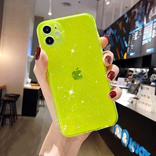 FYMIJJ Funda de teléfono Transparente de Lujo Candy para iPhone 11 12 Mini Pro MAX XS X XR 7 8 Plus SE 2020 Funda de Silicona Suave a Prueba de Golpes, Amarillo Fluorescente, para iPhone SE 2020