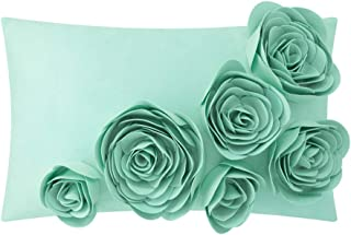 JWH 3D Handmade Accent Pillow Case Rose Flower Cushion Cover Super Soft Velvet Decorative Pillowcase Home Sofa Car Bed Living Room Office Chair Decor Shell Girl Gift 12 x 20 Inch Mint