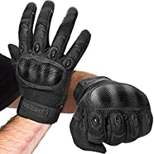 FREETOO Knuckle Tactical Gloves for Men Black Military Gloves for Shooting Airsoft Paintball Motorcycle Climbing and Heavy Duty Work (Large)