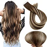 Full Shine Tape in Hair Extensions Human Hair Extensions 12 Inch Premium Tape Hair Balayage Color 3 Medium Brown Fading to 24 Blonde Highlight 3 Remy Hair Soft Tape Hair 30 Grams 20 Pcs
