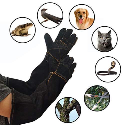 Guantes para manejo de animales a prueba de mordeduras, guantes para manejo de animales anti-mordidas / arañazos, piel de vaca engrosada, guantes de cuero seguros y duraderos, guantes de jardinería (n