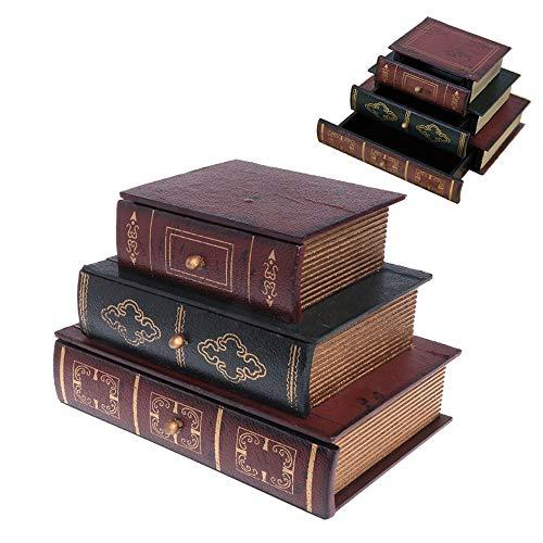 ZJJGRASS Houten Sieraden Box Opslag Bureau Organizer Vintage Retro Boek Ontwerp Geschenken Sieraden Case Treasure Box Home Decor