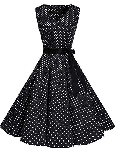 bridesmay 1950er V-Ausschnitt Kleid Vintage Cocktailkleid Rockabilly Retro Schwingen Kleid Faltenrock Black Small White Dot 2XL