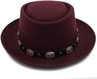 HaiNing Zheng Women Men Felt Fedora Pork Pie Hat Cashmere Flat Homburg Godfather Top Caps With Fashion Bowknot