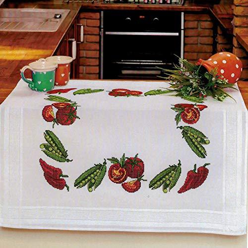 Kamaca Stickpackung Tischdecke Mediterranes Gemüse Kreuzstich vorgezeichnet aus Baumwolle Stickset mit Stickvorlage (Mitteldecke 80x80 cm)