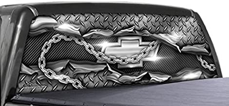 GATORWRAPS Chevy Diamond Plate - Rear Window Graphics (Full-Size Pick Up Truck - 66