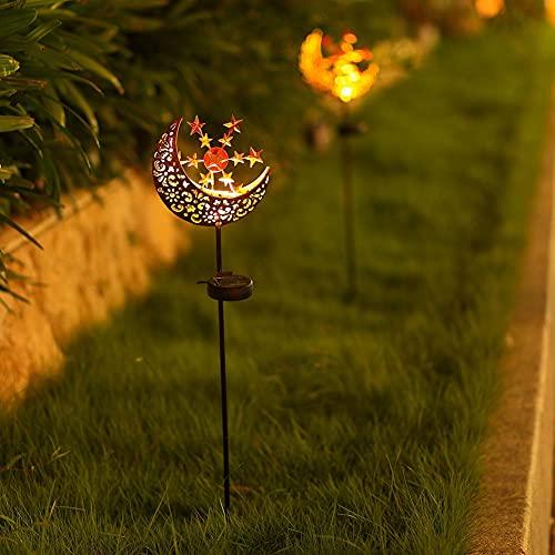 Lámpara solar para exterior, de metal, con forma de luna, lámpara solar LED, soporte decorativo para jardín, lámpara solar al aire libre, resistente al agua IP55, decoración de jardín