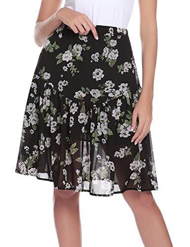 Aibrou Dama Falda de Cintura Alta para Mujer Elegante Gasa A-Line Midiskirt Vintage Retro Swing Faldas Plisadas hasta la Rodilla