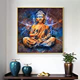Budismo Shakyamuni Religión Zen Meditación Glod Estatua de Buda Estudio de yoga Pintura de la lona Arte de la pared Póster Dormitorio Sala de estar Oficina Decoración para el hogar Mural
