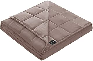 ZonLi Bamboo Weighted Blanket (15lbs for 130-180 lbs Individual, 55''x82'', Grey) for Adult and Youths | Natural Bamboo Material with Glass Beads