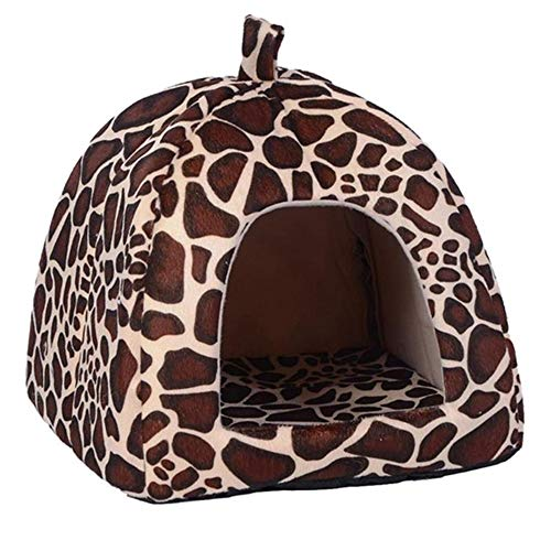 SFBBBO cat bed dog bed Soft Strawberry Leopard Pet Dog Cat House Tent Kennel Doggy Winter Warm Cushion Basket Animal Bed Cave Pet Products Supplies 26x26x28cm white