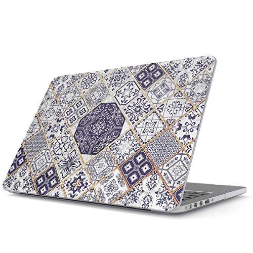BURGA Hülle Kompatibel Für MacBook Air 13 inch Hülle Model: A1932 / A2179 with Retina Bildschirm and Touch ID Licht Blau Weiß Mit Gold Marmor Marble Muster Moroccan Mosaik Hard Plastik Hülle
