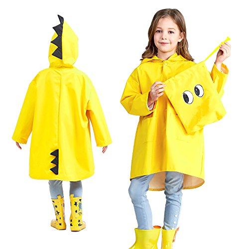 Chubasquero amarillo Impermeable para niños con diseño de Dinosaurio