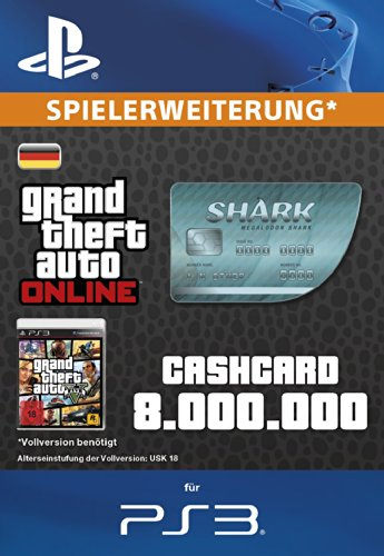 Grand Theft Auto Online | GTA V Megalodon Shark Cash Card | 8,000,000 GTA-Dollars | PS3 Download Code - deutsches Konto
