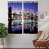 YISUMEI - Cortina opaca con aislamiento térmico para dormitorio, sala de estar - Puente de Nueva York Skyline-Brooklyn - 110 x 160 cm (anchura x profundidad), 2 paneles