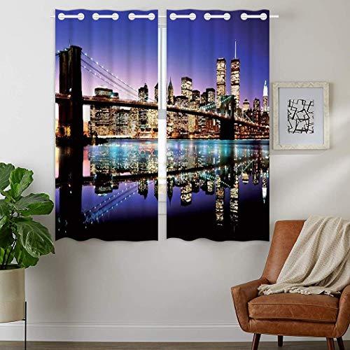 YISUMEI - Rideau occultant isolant thermique à anneaux pour chambre à coucher, salon – New York City Skyline-Brooklyn Bridge – 110 x 160 cm (l x P) 2 panneaux
