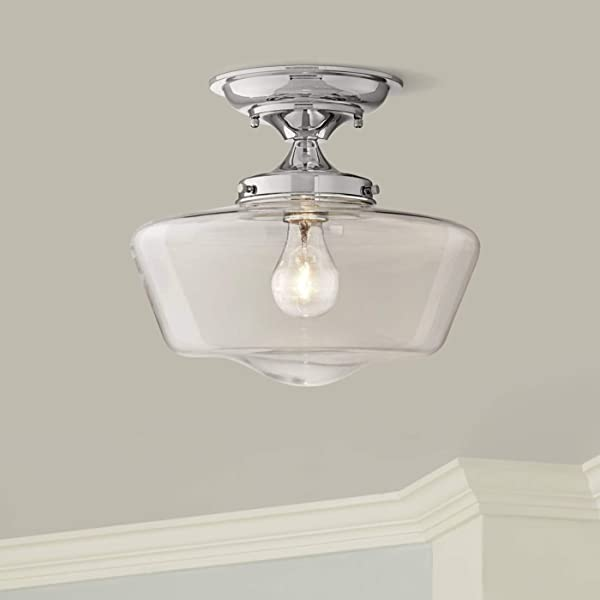 Schoolhouse Floating Modern Ceiling Light Semi Flush Mount Fixture Chrome 12 Wide Clear Glass For Bedroom Kitchen Living Room Hallway Bathroom Regency Hill