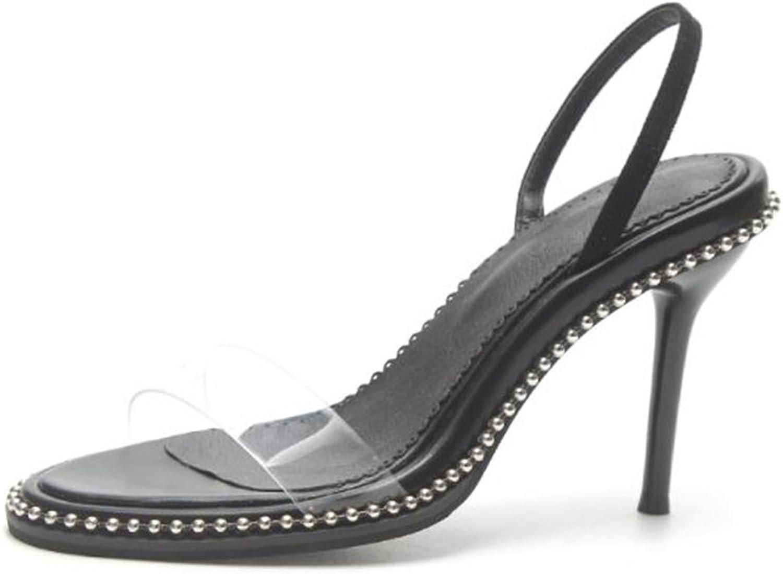 CHENSF Women Open Toe Transparent High Heels Lucite Clear Dress Sandals Ankle Strappy Bukle Stilettos