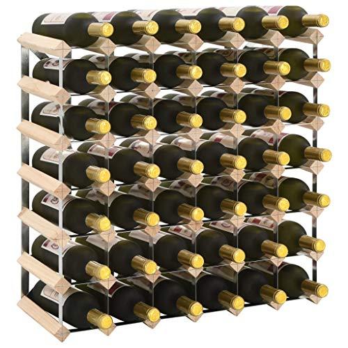 FAMIROSA Botellero para 42 Botellas de Madera Maciza de Pino