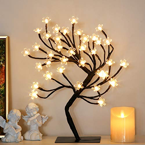 Brightdeco Lighted Cherry Blossom Tree Artificial Bonsai 1.5FT 36 LED Ideal As Night Lights Perfect for Home Festival Halloween Thanksgiving Christmas Easter Wedding Party Warm White