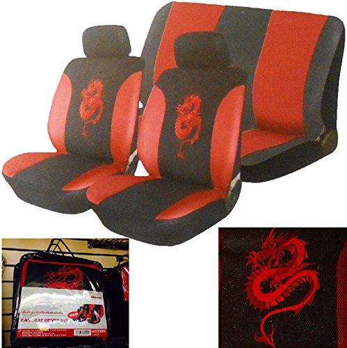 Juego de 6 fundas universales para asiento de coche y reposacabezas de coche, color negro y rojo