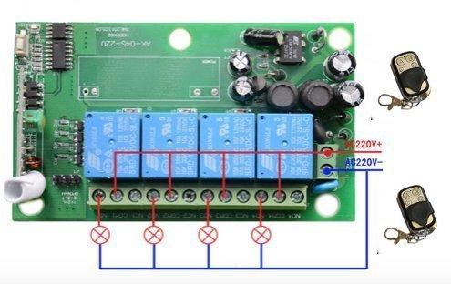 Receptor 4 canales 220 V con 2 mandos a distancia con contactos limpio para garaje Garaje