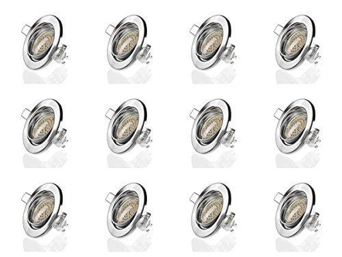 sweet-led 12er Pack,set Einbaustrahler Schwenkbar, 60SMD 280Lumen 3W LED230V, GU10 Fassung, Einbauleuchte Deckeneinbaustrahler Einbauspot Deckeneinbauleuchte Deckenspot, EEK A+ (rund-chrom geb.-warmweiss)